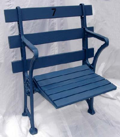 New York Yankees single straight back restored stadium seat - circa 1920's and comes with certificate of authenticity plaque