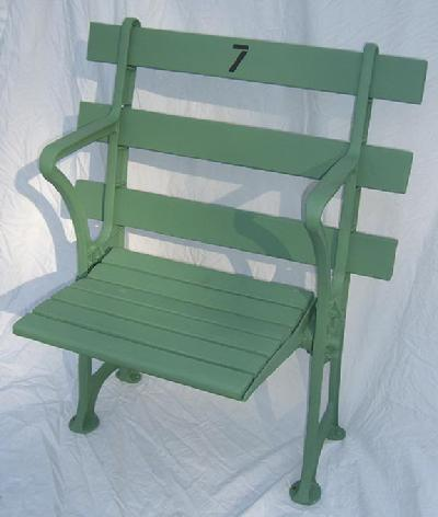 New York Yankees single straight back restored stadium seat in sea foam green color - circa 1960's and comes with certificate of authenticity plaque - Price $1,499