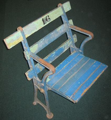 New York Yankees original wood straight back stadium seat, unrestored with original paint - circa 1923
